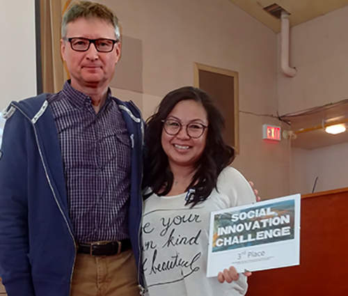 Rob Dalgeish Third place winner Darlene Salvador  Social Innovation Challenge   Lake Superior News