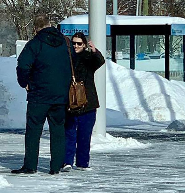 Christophe  Avery and Jonathan Dunstan talking infront of Courthouse Lake Superior News