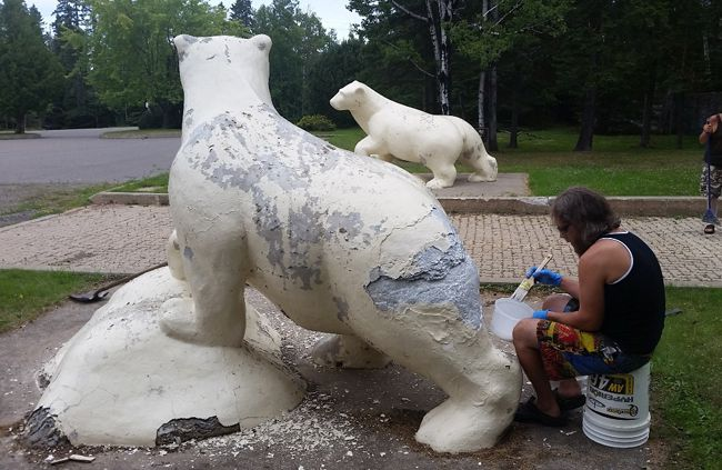 Chippewa Park Bear being Restored   Lake Superior News