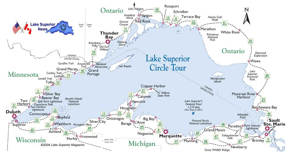 Road Map Around Lake Superior   Lake Superior News