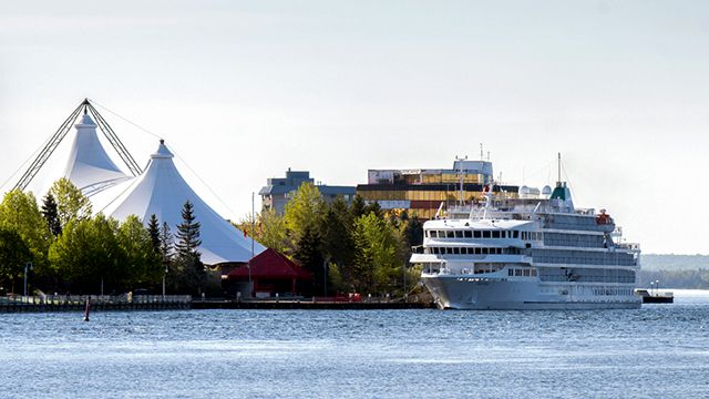 Pearl Mist, a 210-passenger vessel operated by Pearl Seas Cruises, moored in front of Roberta Bondar Park on June 8, 2019.  Lake Superior